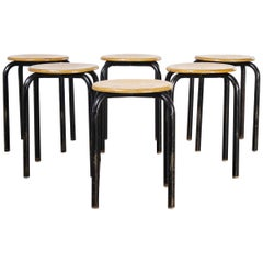 1960's Simple French Stacking School Stools, Black, Set of Six