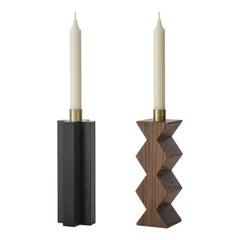 Constantin II + III Set of Two Candleholders in Black Oak, Walnut and Brass
