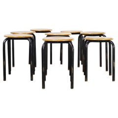 1960's Simple French Stacking School Stools, Black, Set of Eight