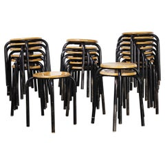 1960's Simple French Stacking School Stools, Black, Various Qty Available