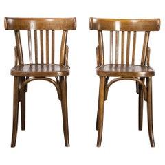 1950's Pair of Bentwood Dining Chairs, Dark Walnut
