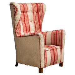 Fritz Hansen Model 1672 Style High Back Lounge Chair Danish Midcentury, 1940's