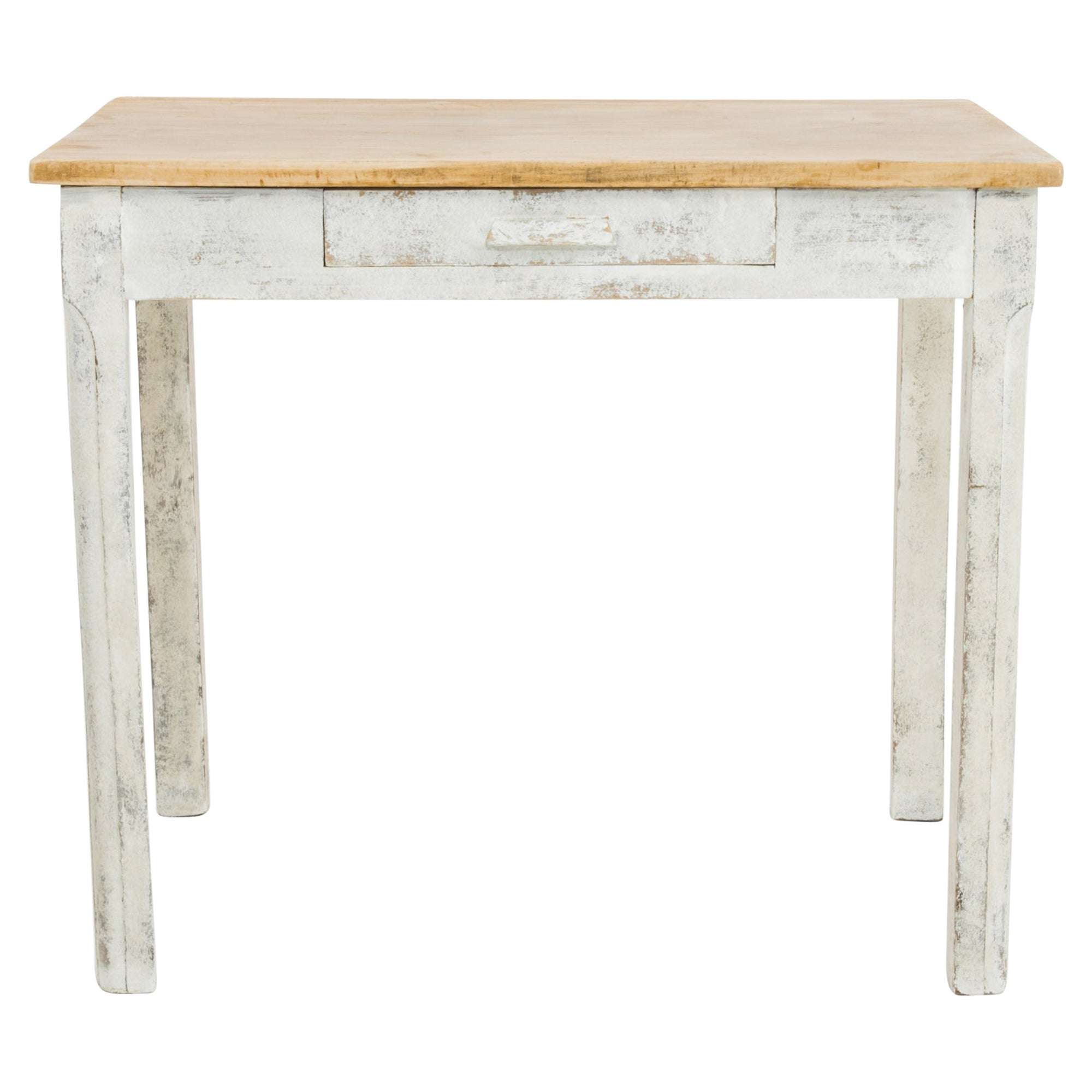 Antique Belgian Rustic White Side Table