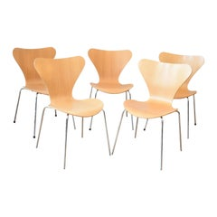 Set of 6 Arne Jacobson for Fritz Hansen Series 7 Dining Chairs