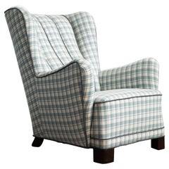 Danish 1940's High Back Lounge Chair in Style of Fritz Hansen Model 1672