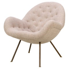 Early Mid-Century Lounge Chair by Fritz Neth with Brass Legs, 1950s