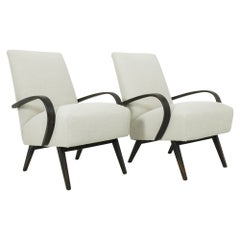 1950s Czechoslovakian Upholstered Wooden Armchairs by J. Halabala, a Pair
