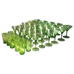 Large Art Deco Champagne&White&Red Wine&Water Set in Green Glass Austria, 1920s