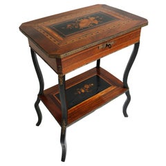 Antique French Inlaid Napoleon III Side Table / Vanity 19th Century Marquetry