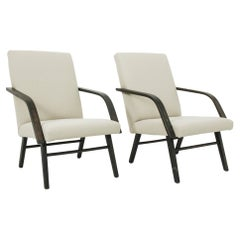 1960s Czechoslovakian Angular Upholstered Lounge Chairs, a Pair