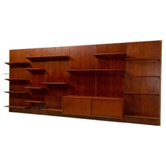 Large Wall Unit / Bookcase by Finn Juhl BO71 for Bovirke, Denmark, Teak Brass