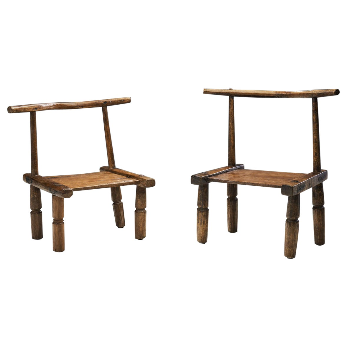 Hand Carved African Baule Tribal Chairs, Ivory Coast, Early 20th century