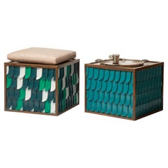 Handcrafted Stool and Side Table Inspired from Ancient Egypt's Horus Wings