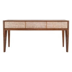Hand-Carved Walnut Console with Intricate Mother-of-pearl Geometric Design