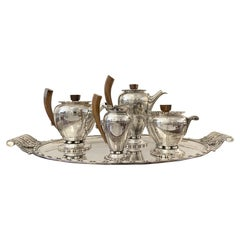 Durousseau & Raynaud Hallmarked Art Deco Silver Plated Service Set, France