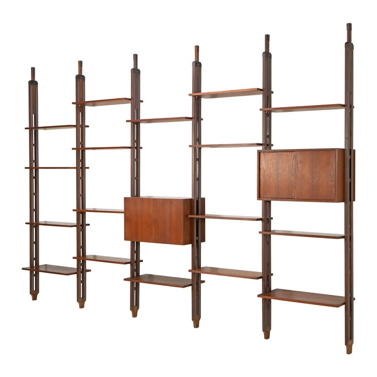 Italian Room Divider Book-Shelf by Paolo Tilche Made in Italy, 1960s, Teak For Sale