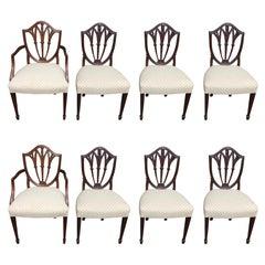 Set of Eight English Hepplewhite Mahogany Shield Back Dining Room Chairs C. 1840