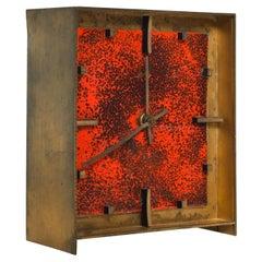 Splatter Red Kienzle Bronze Enamel Table Clock W Germany Atlanta Exclusiv, 1960s