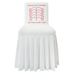 """""""Withdrawal-Can-Be"""" Hand-Embroidered White and Red Cotton and Silk Chair"""