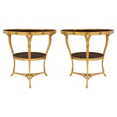 Pair of French 19th Century Louis XVI St. Ormolu and Marble Guéridon Tables