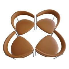 Four Mid-Century Three-legged Chairs by Dieter Waeckerlin for Idealheim, 1970s