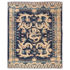 Shabby Chic Antique Chinese Dragon Design Rug. Size: 9 ft x 11 ft 5 in