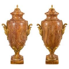 Pair of French 19th Century Louis XVI St. Alabastro Fiorito & Ormolu Lidded Urns