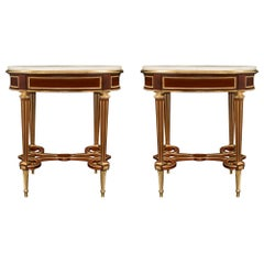 Pair of French 19th Century Louis XVI Style Side Table by Henry Dasson, 1878