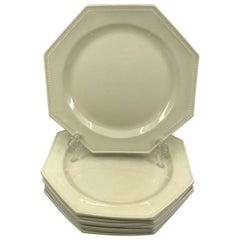 Set of Eight Octagonal Creamware Plates