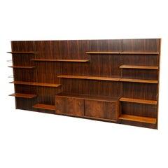 Bookcase / Wall Unit by Finn Juhl BO71 for Bovirke, 1960s Rosewood Pine Brass