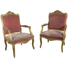 Pair of French Louis XV Style Gilt Armchairs in Faded Salmon Velvet