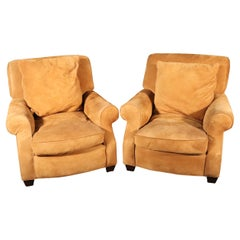 Pair of Sand Hued Genuine Suede Large Scale Williams Sonoma Club Chairs