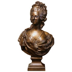 18th Century French Patinated Bronze Marie Antoinette Bust Signed F. Lecomte