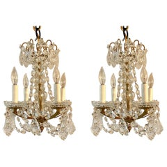 Pair of Petite Estate Crystal and Gold Bronze Chandeliers, Circa 1930-1940