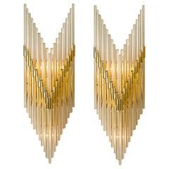 Modern Sciolari Glass Rod Waterfall Wall Sconces for Lightolier, 1970