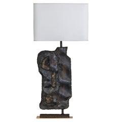1970's Italian Rectangular Brut Steel Table Lamp