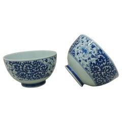 Celadon and Blue Vintage Decorative Bowls