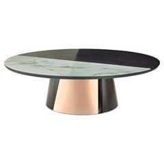 Round Table Metal Frame Legs Glossy or Satin Ebony or Oak Customizable