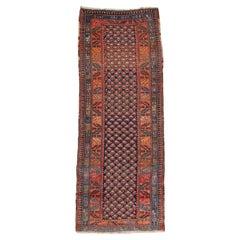 Antique Navy Blue Tribal Geometric Persian Kurd Runner Rug, c. 1900