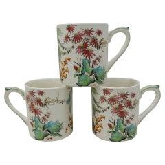 Set of Four '4' Gien France Tamarin 'Monkey' Vintage Mugs