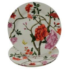 Set of '3' Floral Bone China Dessert Plates