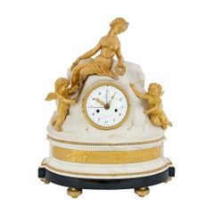 French 18th Century Louis XVI Period Ormolu and Marble Clock, Signed Déliau