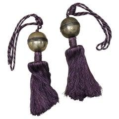 Pair of Vintage Monumental Purple Silk Indian Tassels