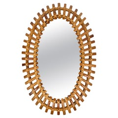 Bamboo & Rattan Oval Wall Mirror, Italy, 1960s