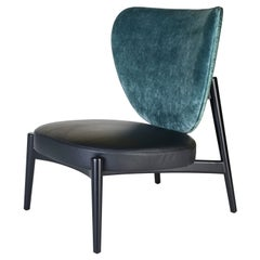 Armchair Frame in Wood Matt Moka Black Laquer or Ivory Laquer Fabric or Leather