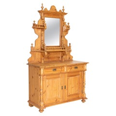 Antique Pine Sideboard Buffet with Mirror