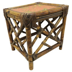 Vintage Square Bamboo and Rattan Plant Stand