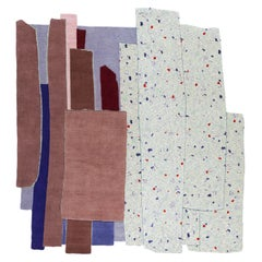 Gesture CC Tapis Patcha Square Handmade Rug in Burgundy by Patricia Urquiola