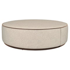 Pouf in Wood Structure Plinth and Structure Covered in Fabric Customizable
