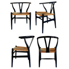 "Set of 4 Chairs ""ch24 Wishbone Chair"" Design Hans Wegner for Carl Hansen, 1950"